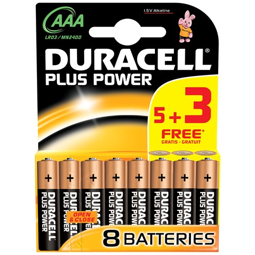 Duracell  Plus Power AAA Batteries - 5 Pack + 3 FREE