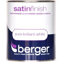 Berger  Satin Brilliant White Paint  - 750ml