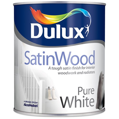 Dulux  SatinWood Interior Pure White Paint - 750ml