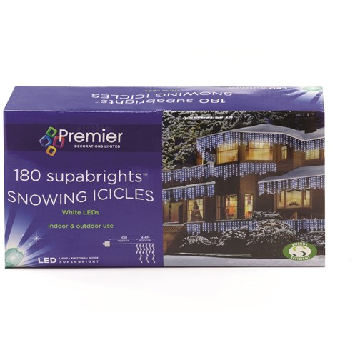 Snowing Christmas Lights.Premier Decorations 180 Supabright Led Snowing Icicle Lights