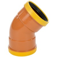 Wavin U Drain Premium PVC Double Socket 45° Swept Bend - 110mm