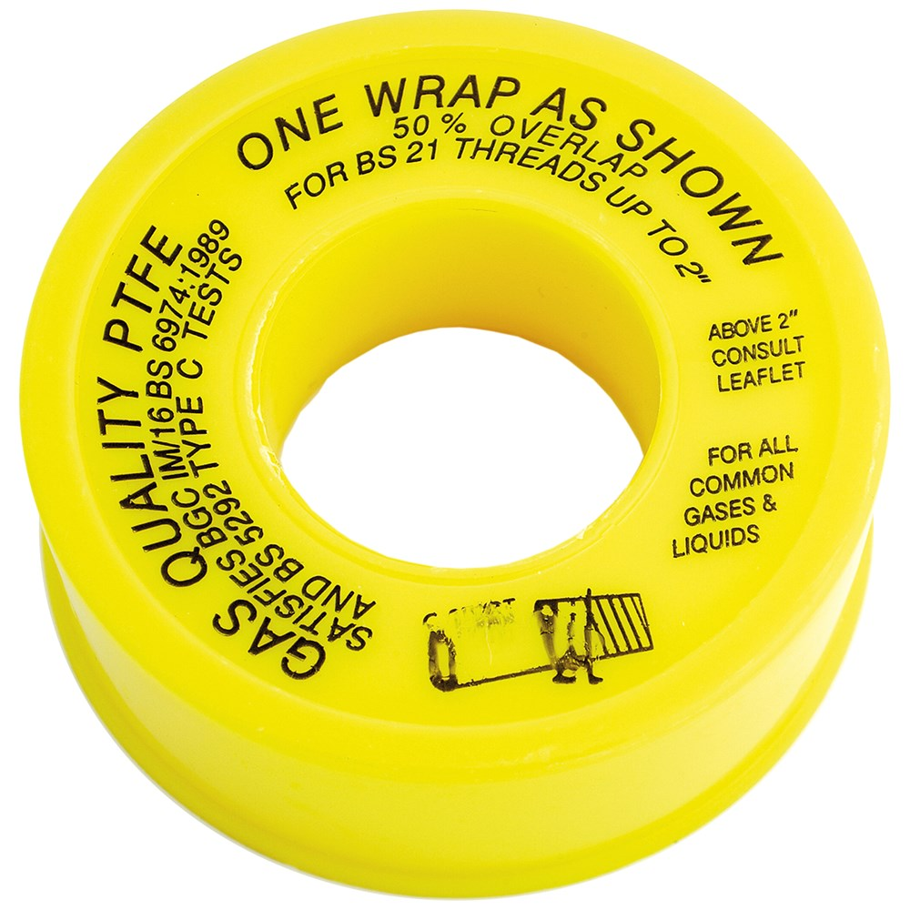 Uel gas ptfe tape yellow fixings sealants tools